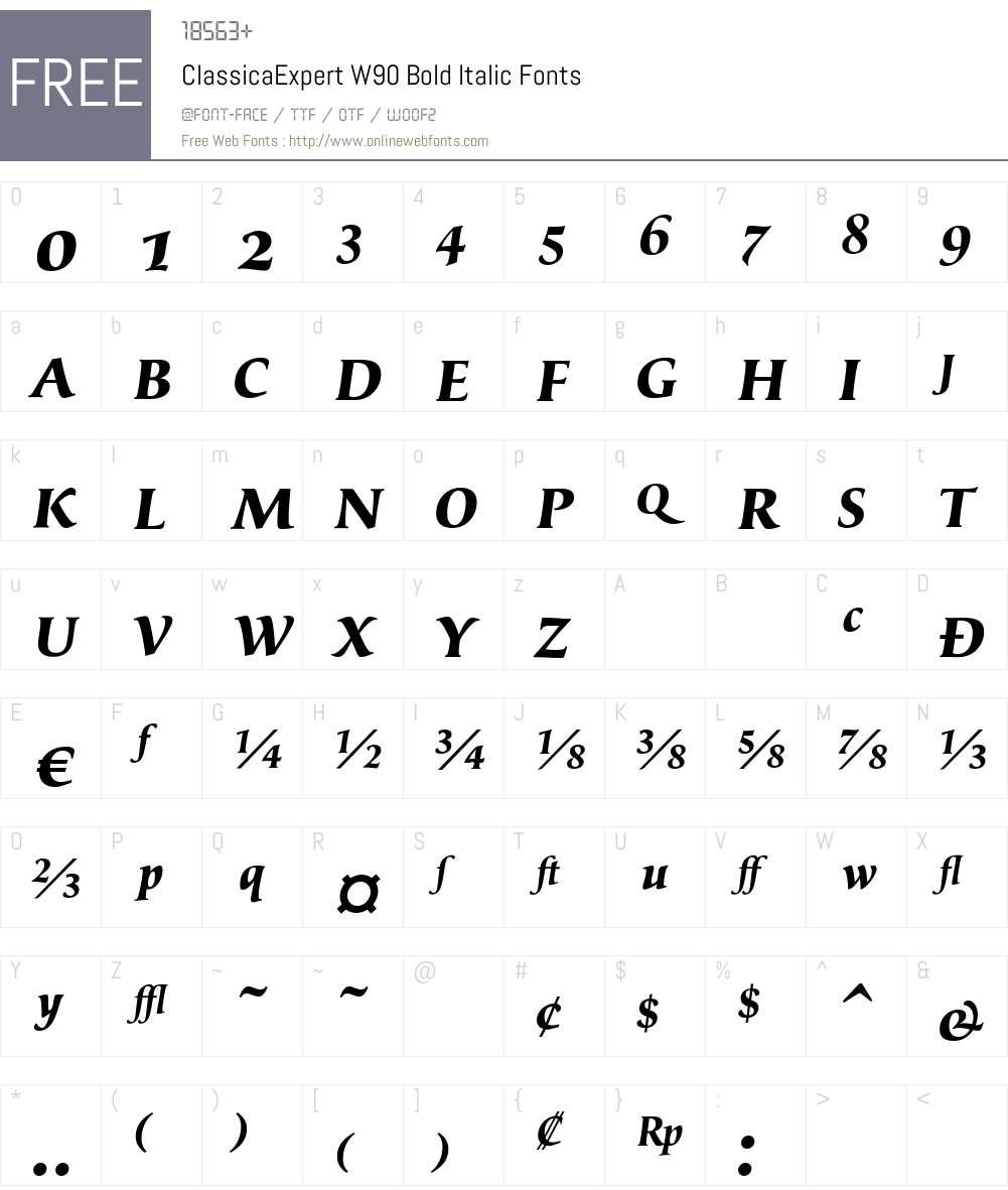 ClassicaExpertW90-BoldIt Font Screenshots