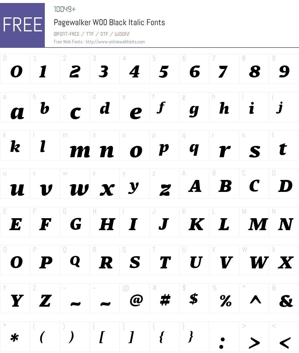 PagewalkerW00-BlackItalic Font Screenshots