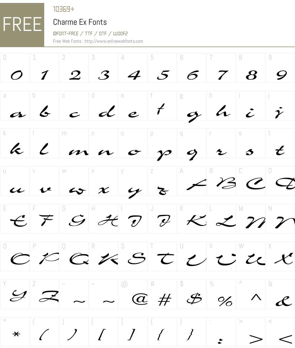 Charme Ex Font Screenshots