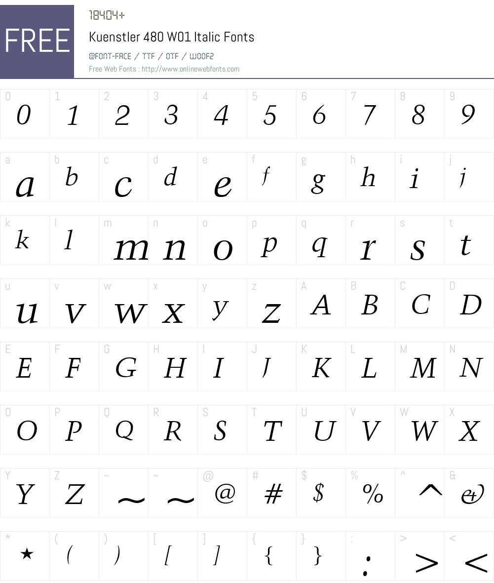 Kuenstler480W01-Italic Font Screenshots