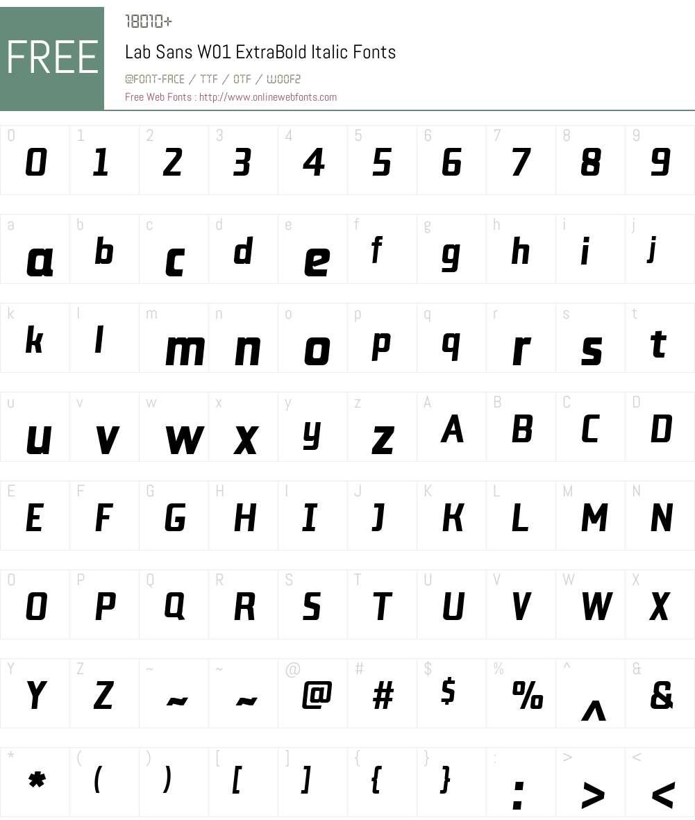 LabSansW01-ExtraBoldItalic Font Screenshots