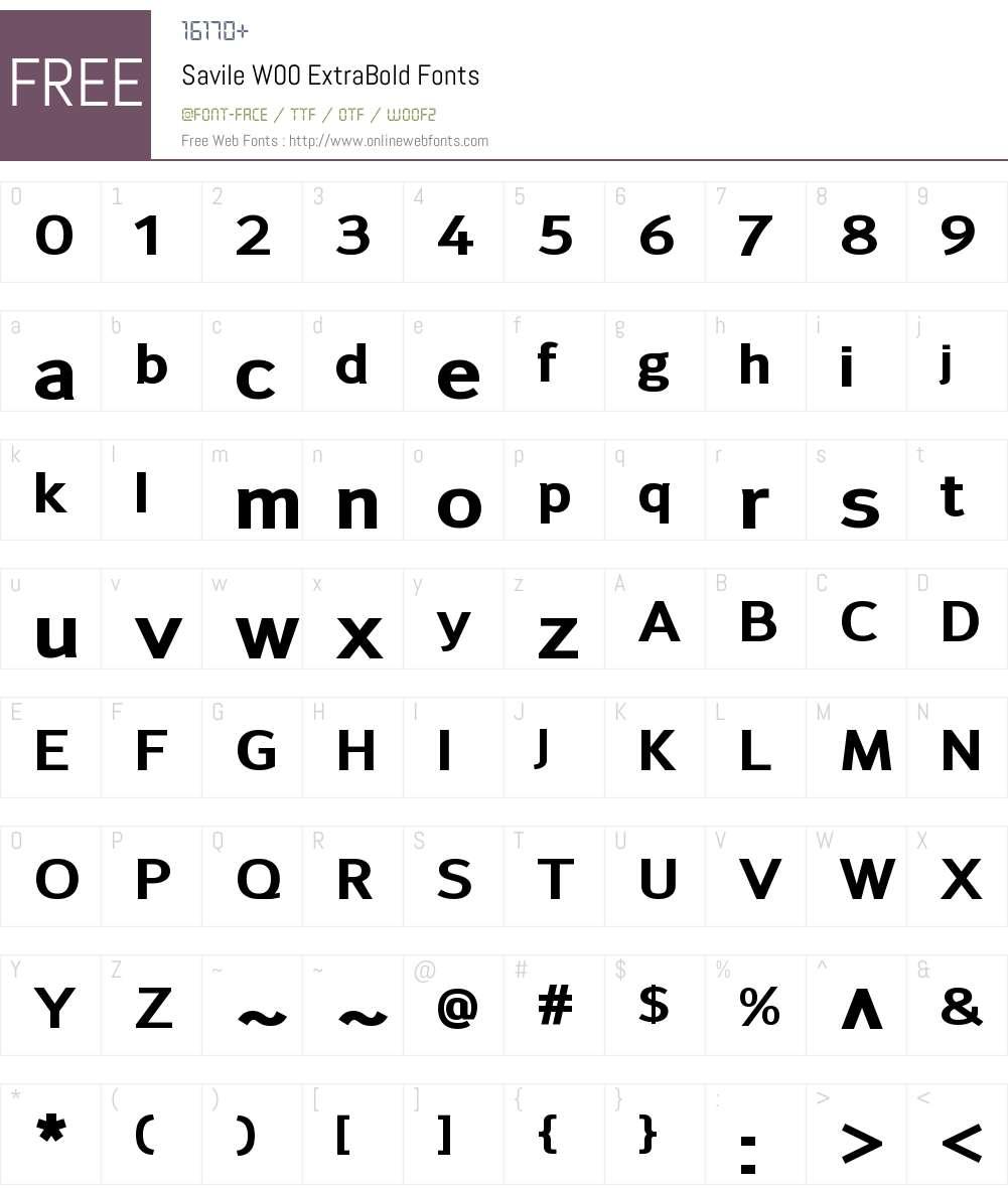 SavileW00-ExtraBold Font Screenshots