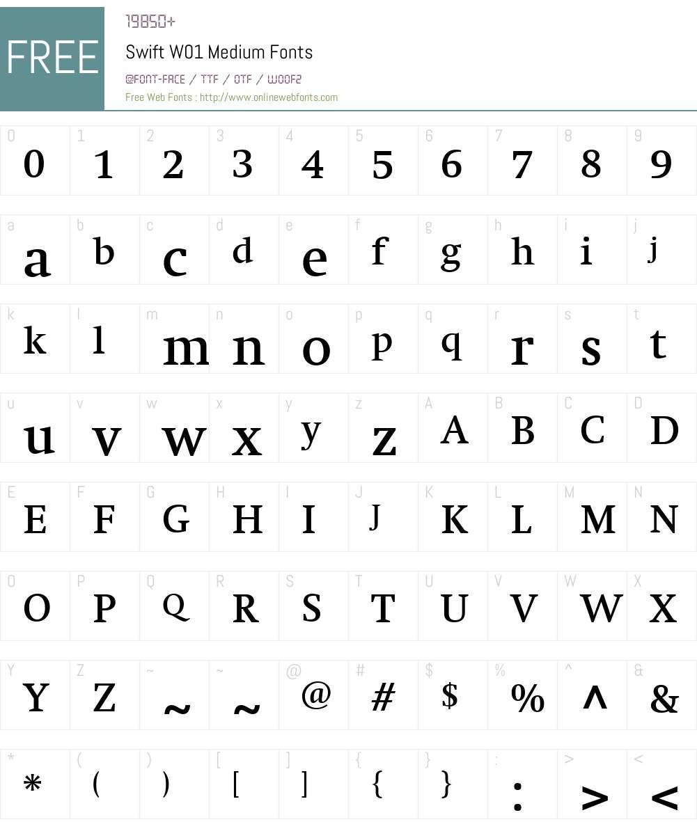SwiftW01-Medium Font Screenshots
