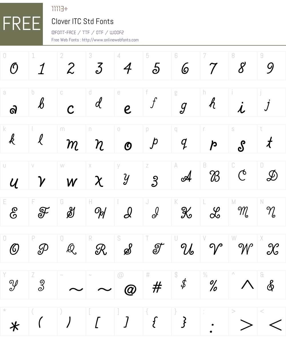 Clover ITC Std Font Screenshots