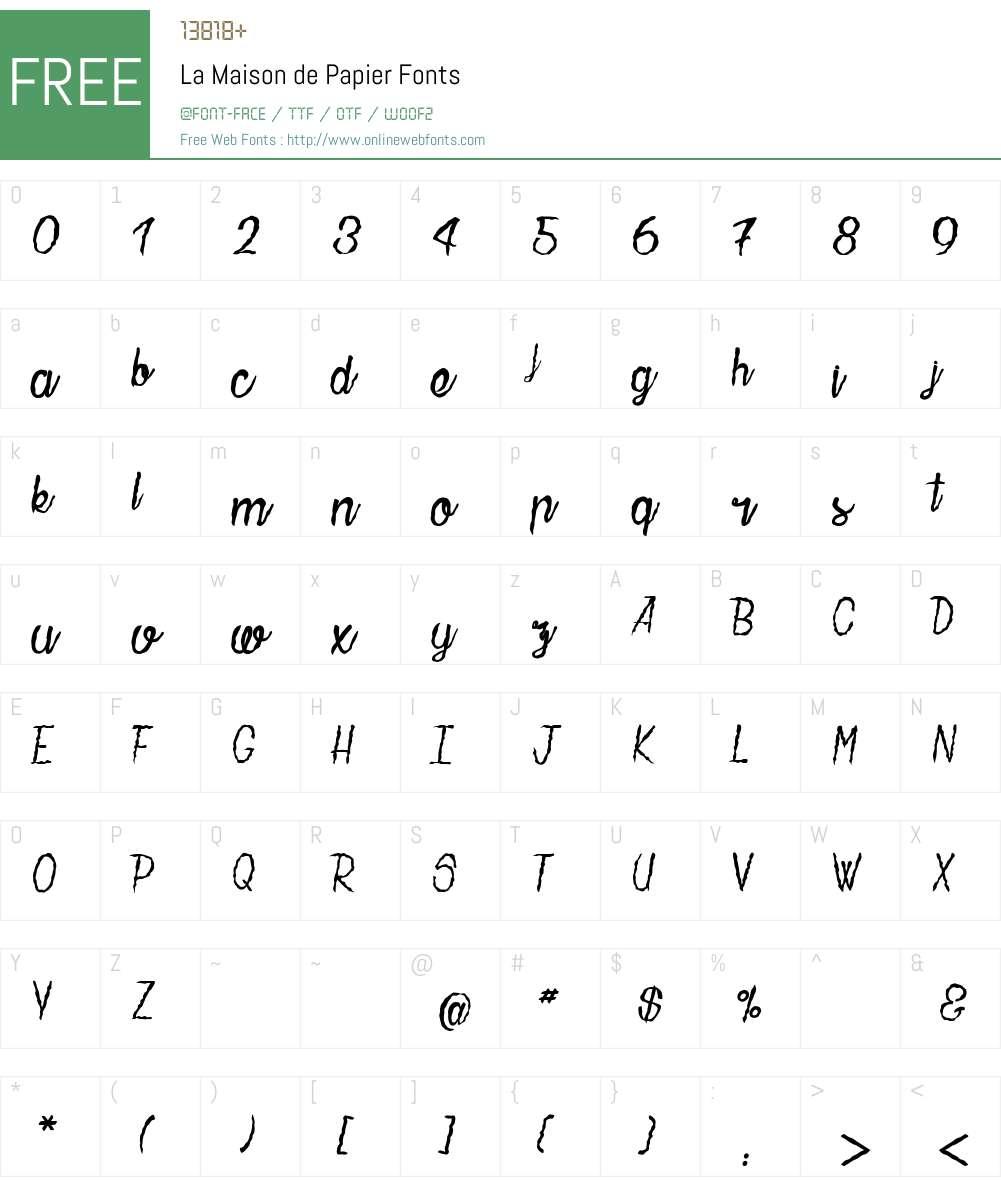 La Maison de Papier Font Screenshots