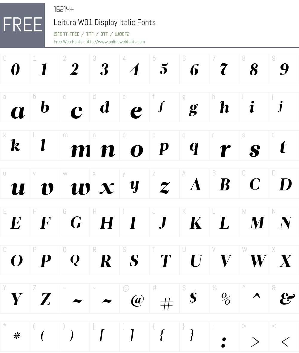 LeituraW01-DisplayItalic Font Screenshots