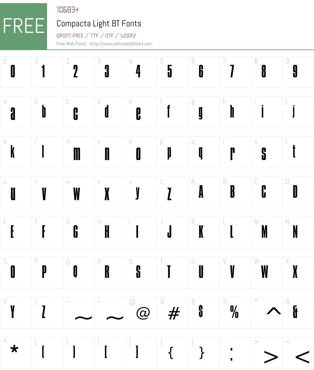Compacta Lt BT Font Screenshots