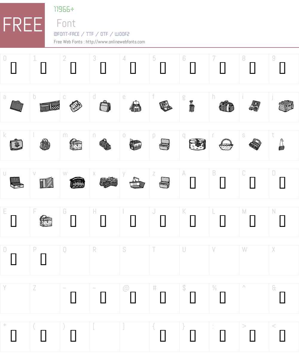 Bags and stuff Font Screenshots