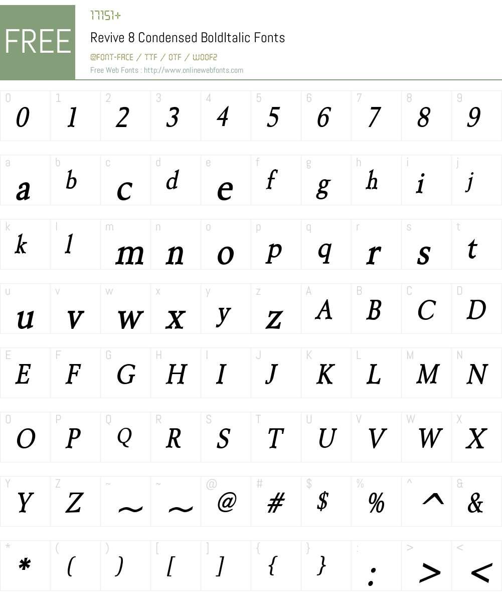 Revive 8 Condensed Font Screenshots