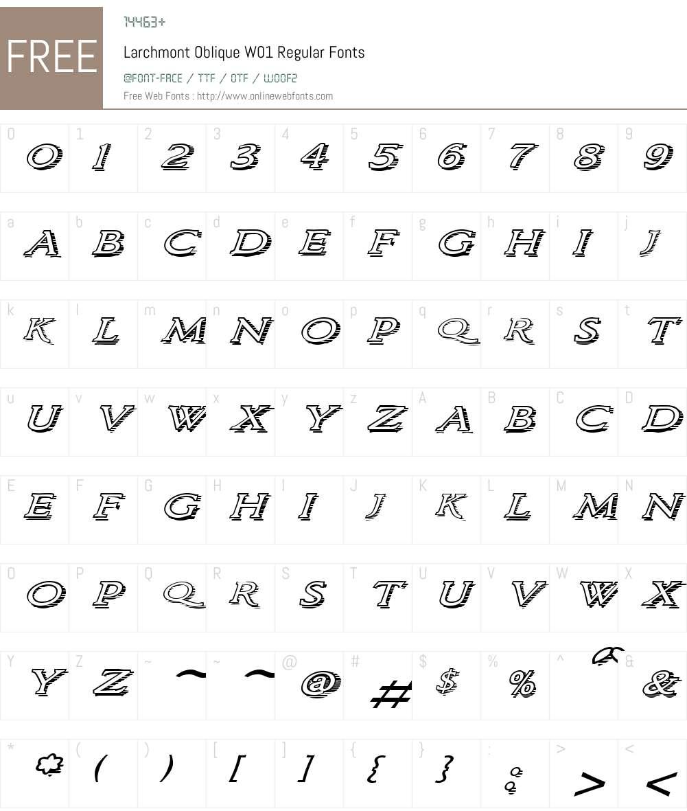 LarchmontObliqueW01-Regular Font Screenshots