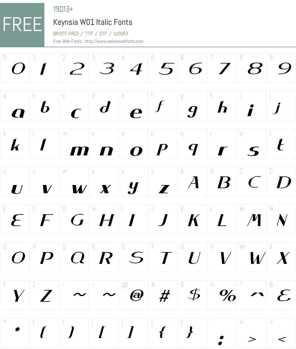 KeynsiaW01-Italic Font Screenshots