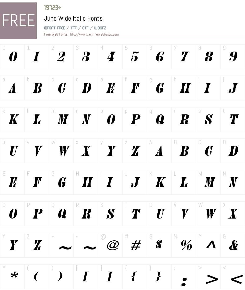 June Wide Font Screenshots