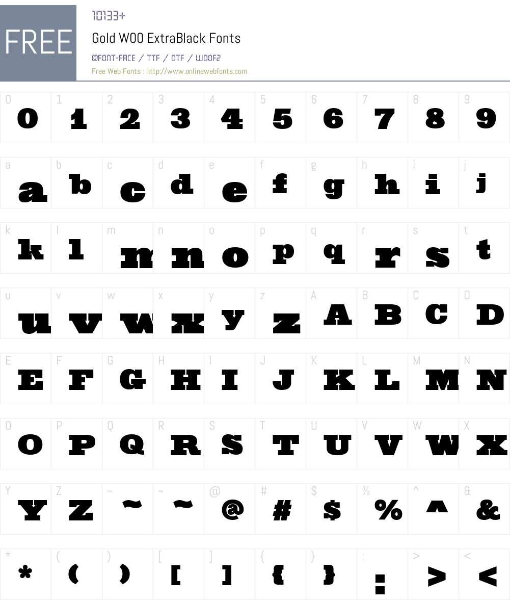 GoldW00-ExtraBlack Font Screenshots