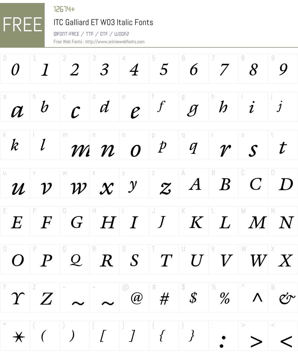 ITC Galliard eText Font Screenshots