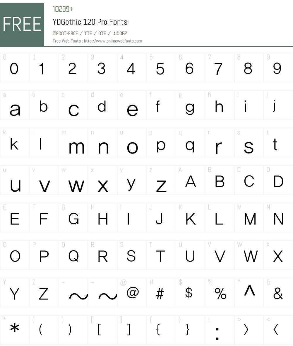 YD Gothic 100 Font Screenshots