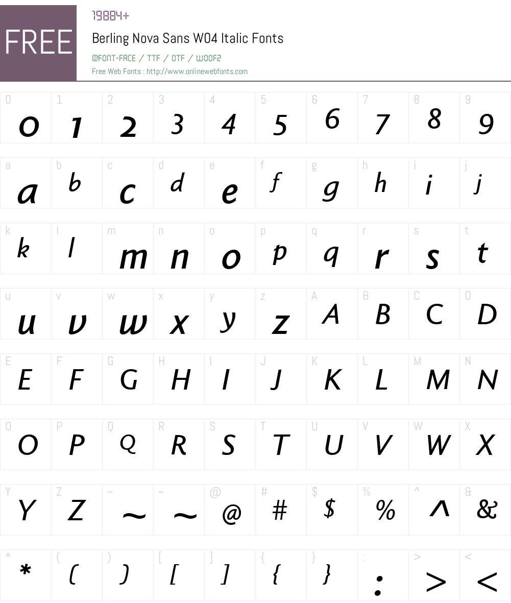 BerlingNovaSansW04-Italic Font Screenshots