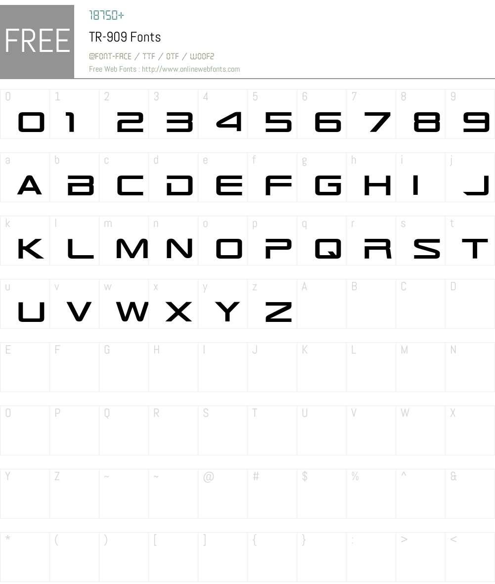 TR-909 Font Screenshots