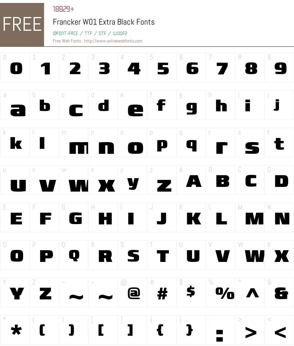 FranckerW01-ExtraBlack Font Screenshots