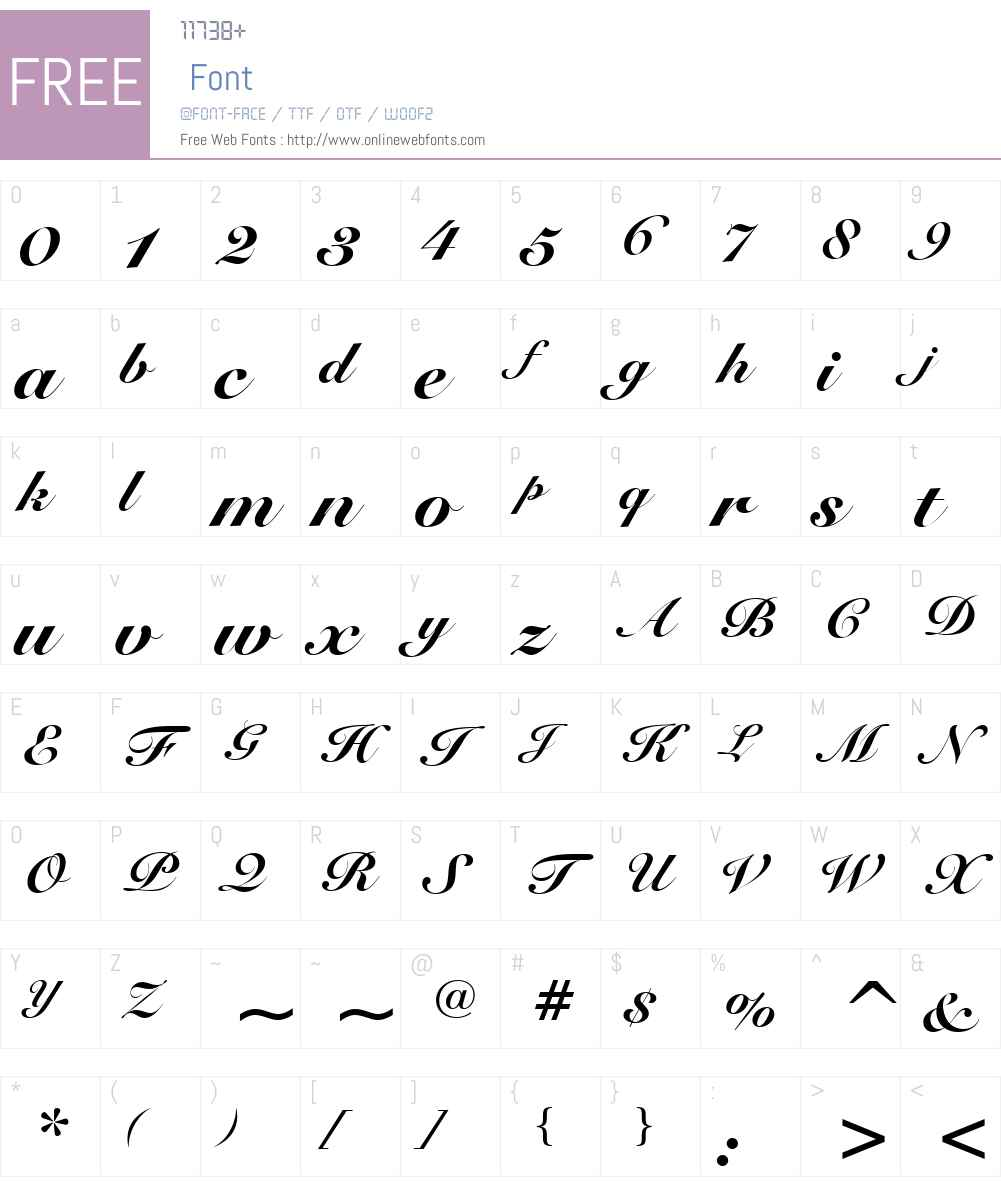 Roundhand Blk BT Font Screenshots