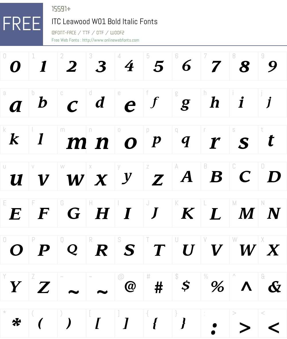 ITCLeawoodW01-BoldItalic Font Screenshots