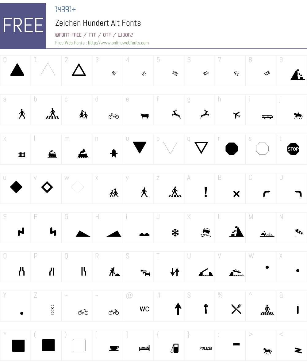 Zeichen Hundert Alt Font Screenshots