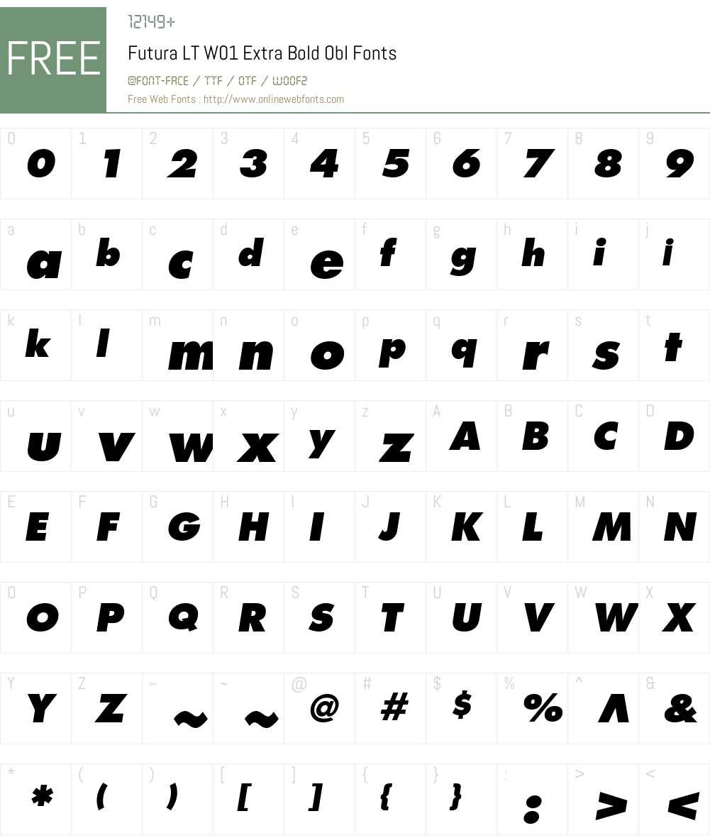 FuturaLTW01-ExtraBoldObl Font Screenshots
