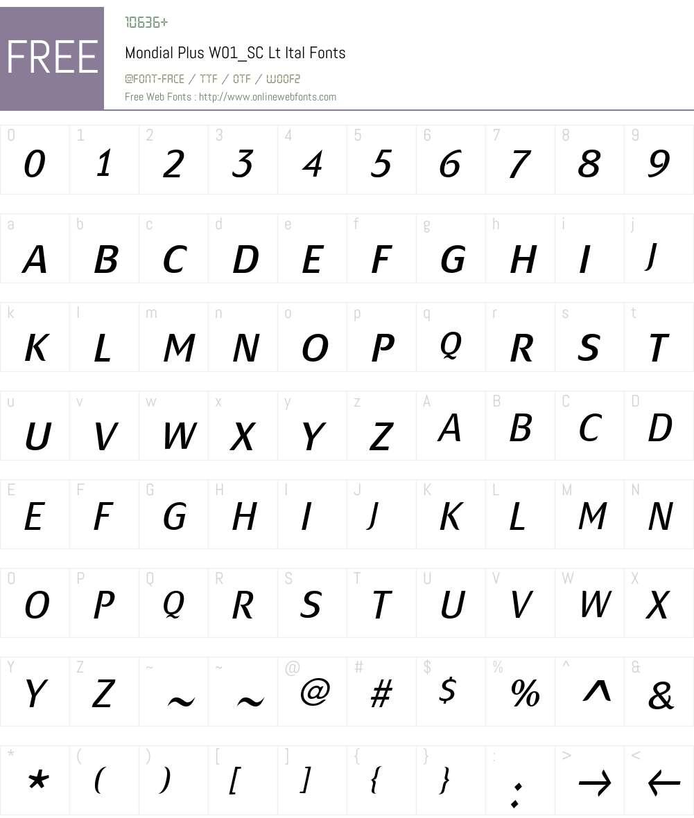 MondialPlusW01_SC-LtItal Font Screenshots