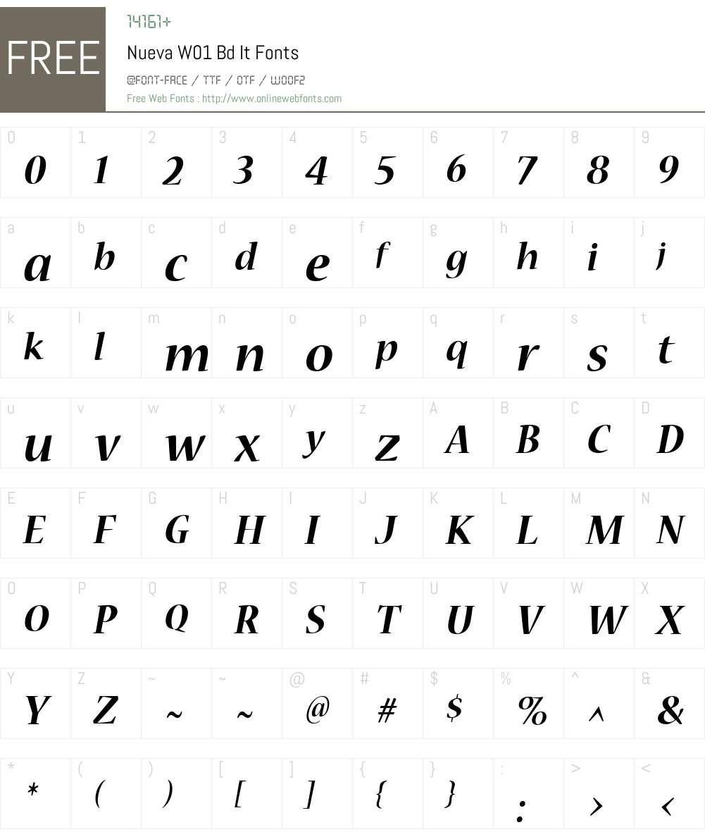 NuevaW01-BdIt Font Screenshots