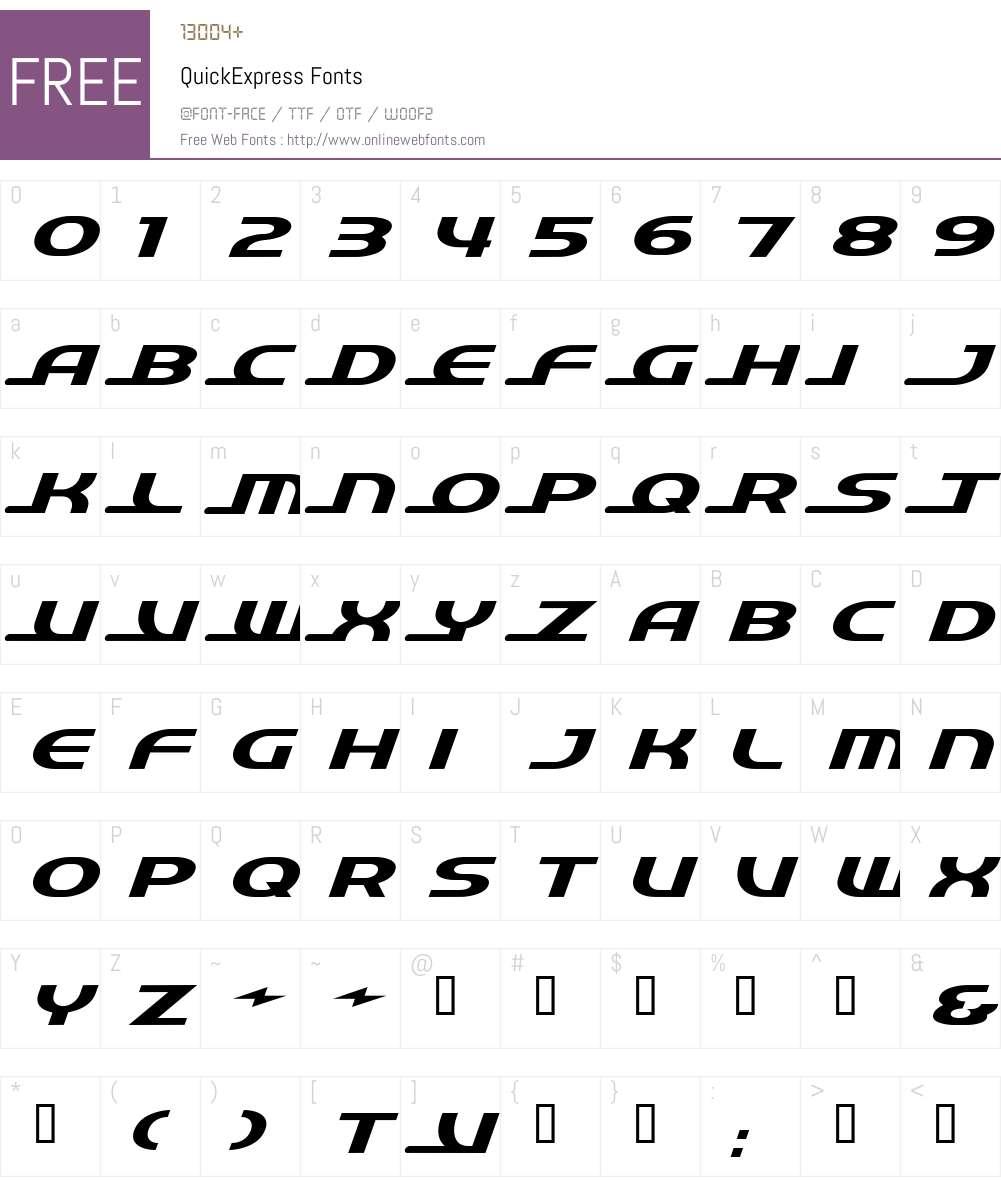 QuickExpress Font Screenshots