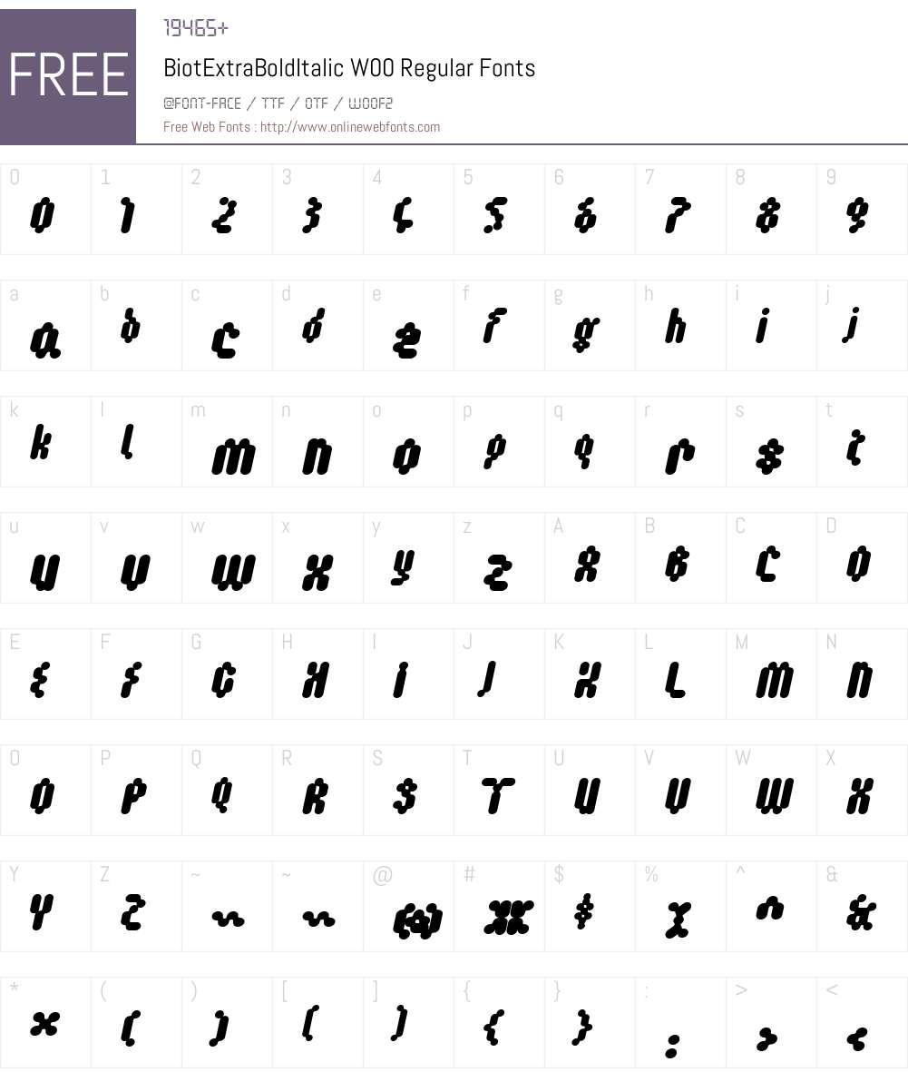 Biot Font Screenshots