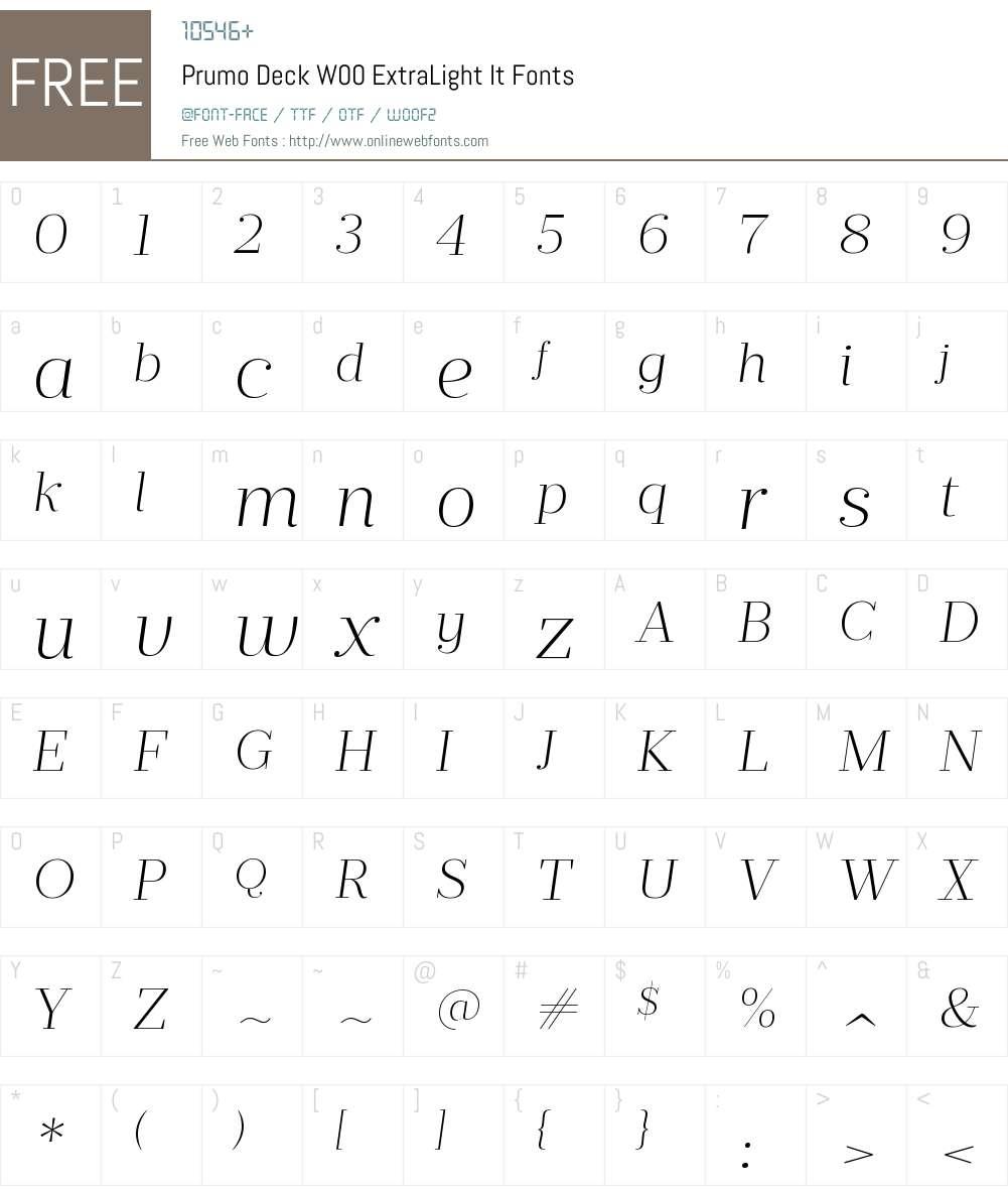 PrumoDeckW00-ExtraLightIt Font Screenshots