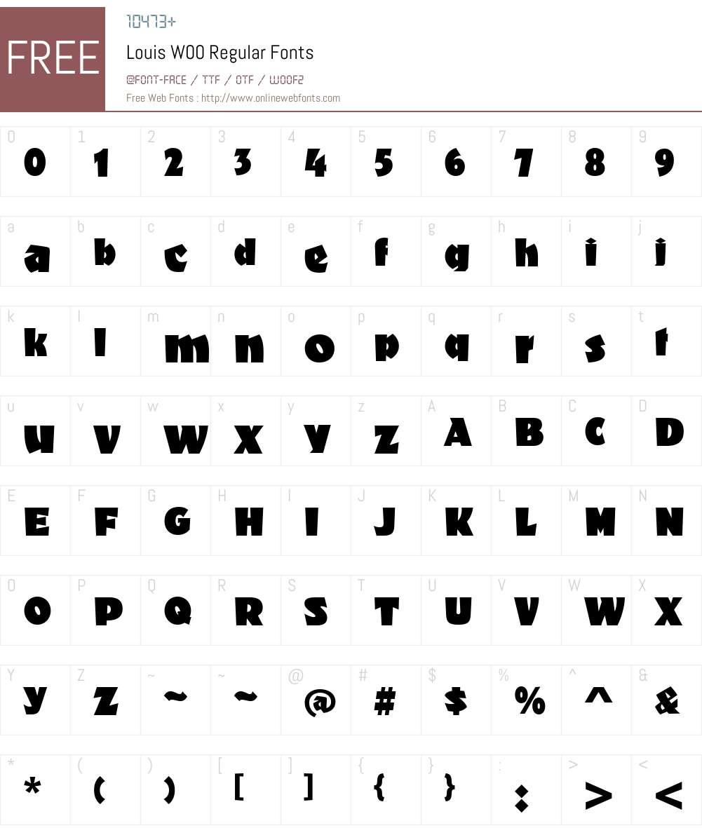 LouisW00-Regular Font Screenshots