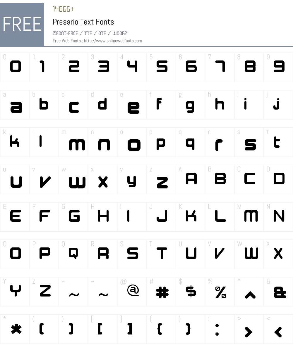 Presario Text Font Screenshots