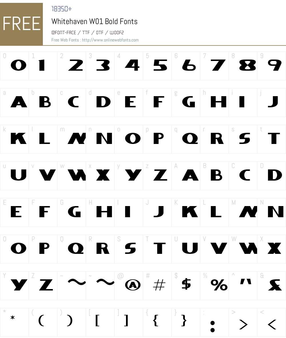 WhitehavenW01-Bold Font Screenshots