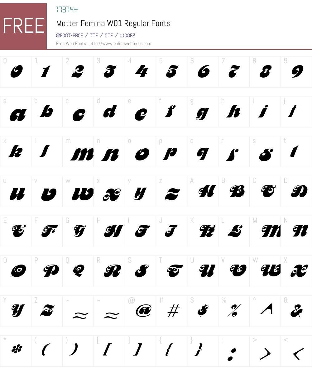 MotterFeminaW01-Regular Font Screenshots