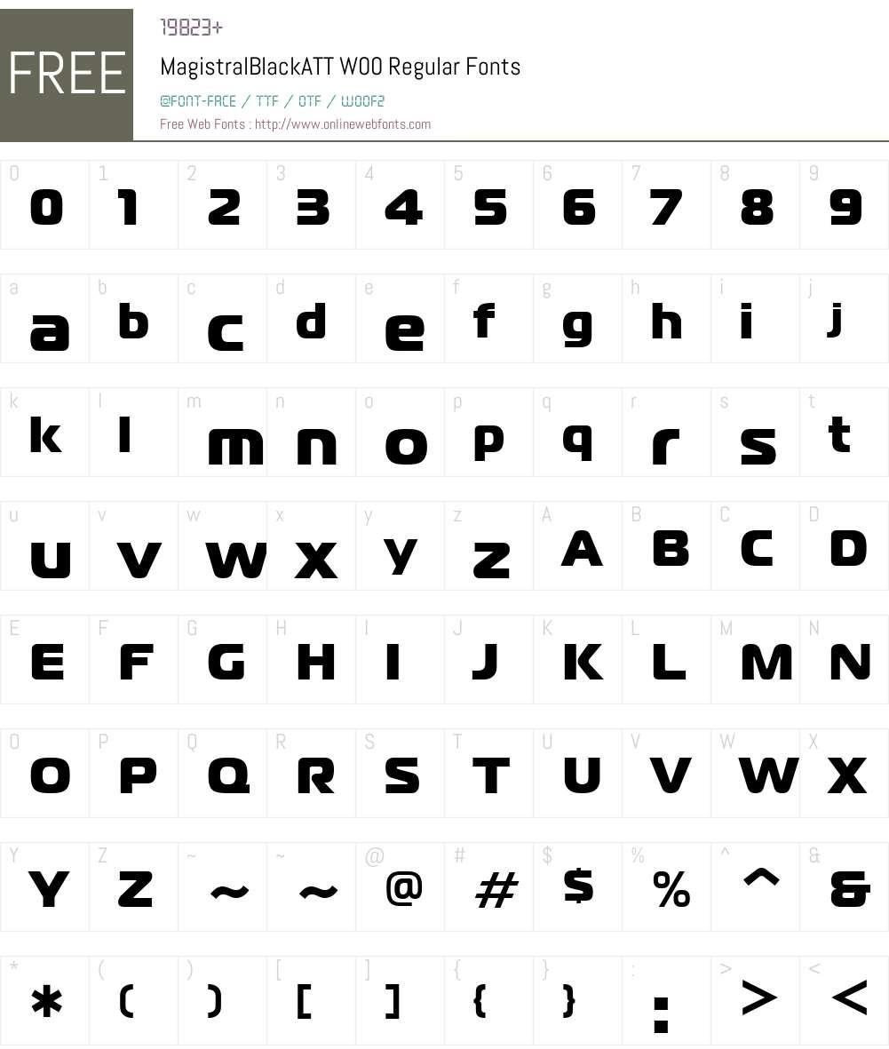 MagistralBlackATTW00-Rg Font Screenshots