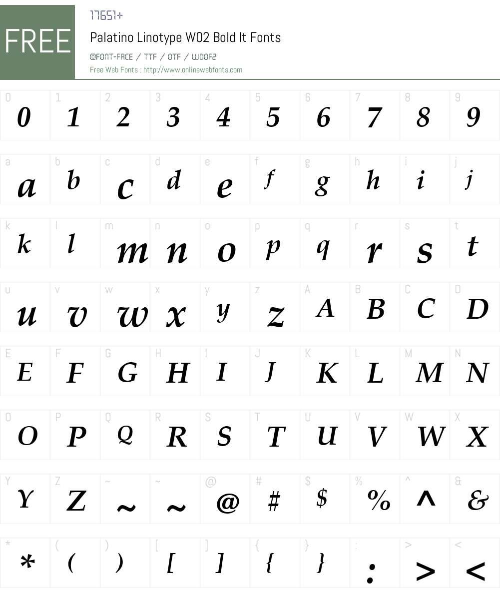 Palatino Linotype Font Screenshots