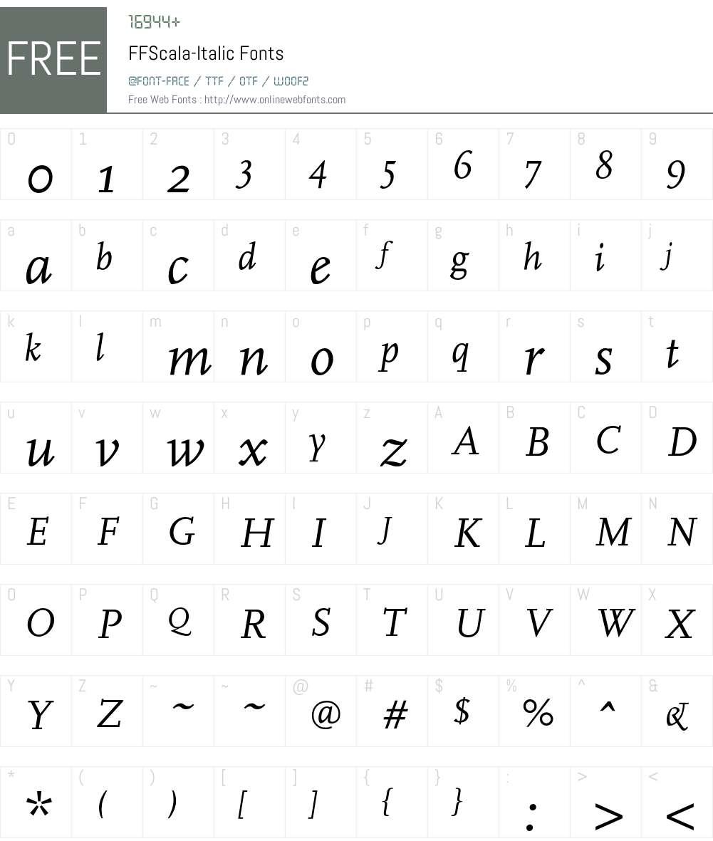 FFScala-Italic Font Screenshots