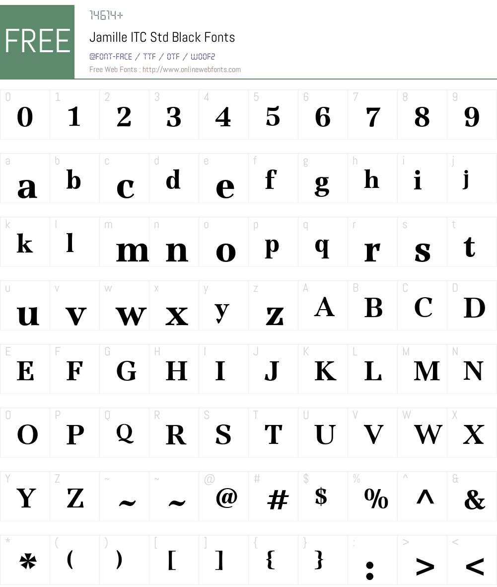 Jamille ITC Std Font Screenshots