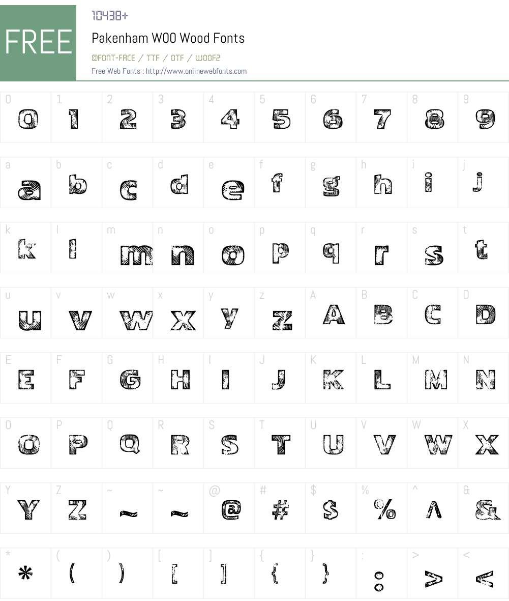 PakenhamW00-Wood Font Screenshots
