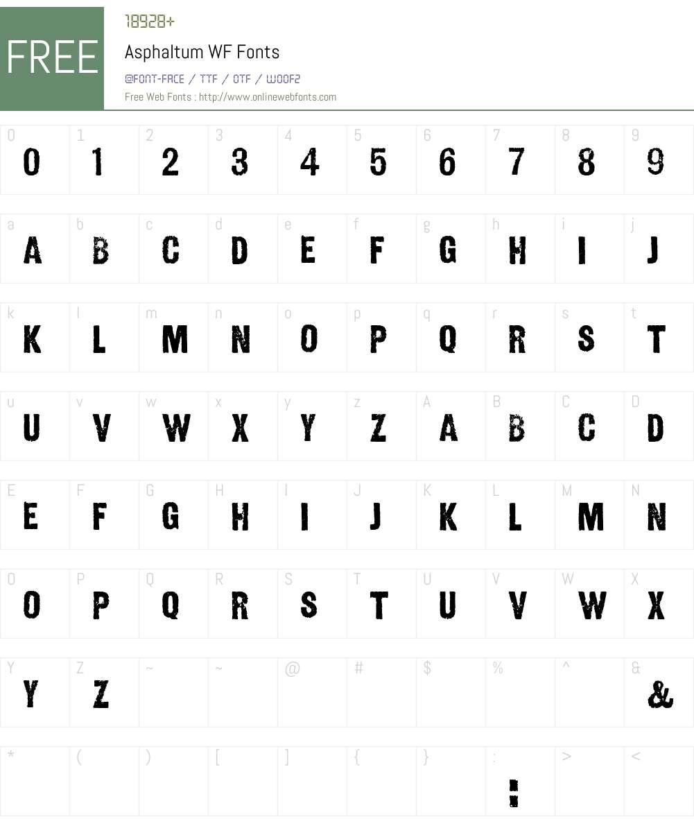 Asphaltum WF Font Screenshots