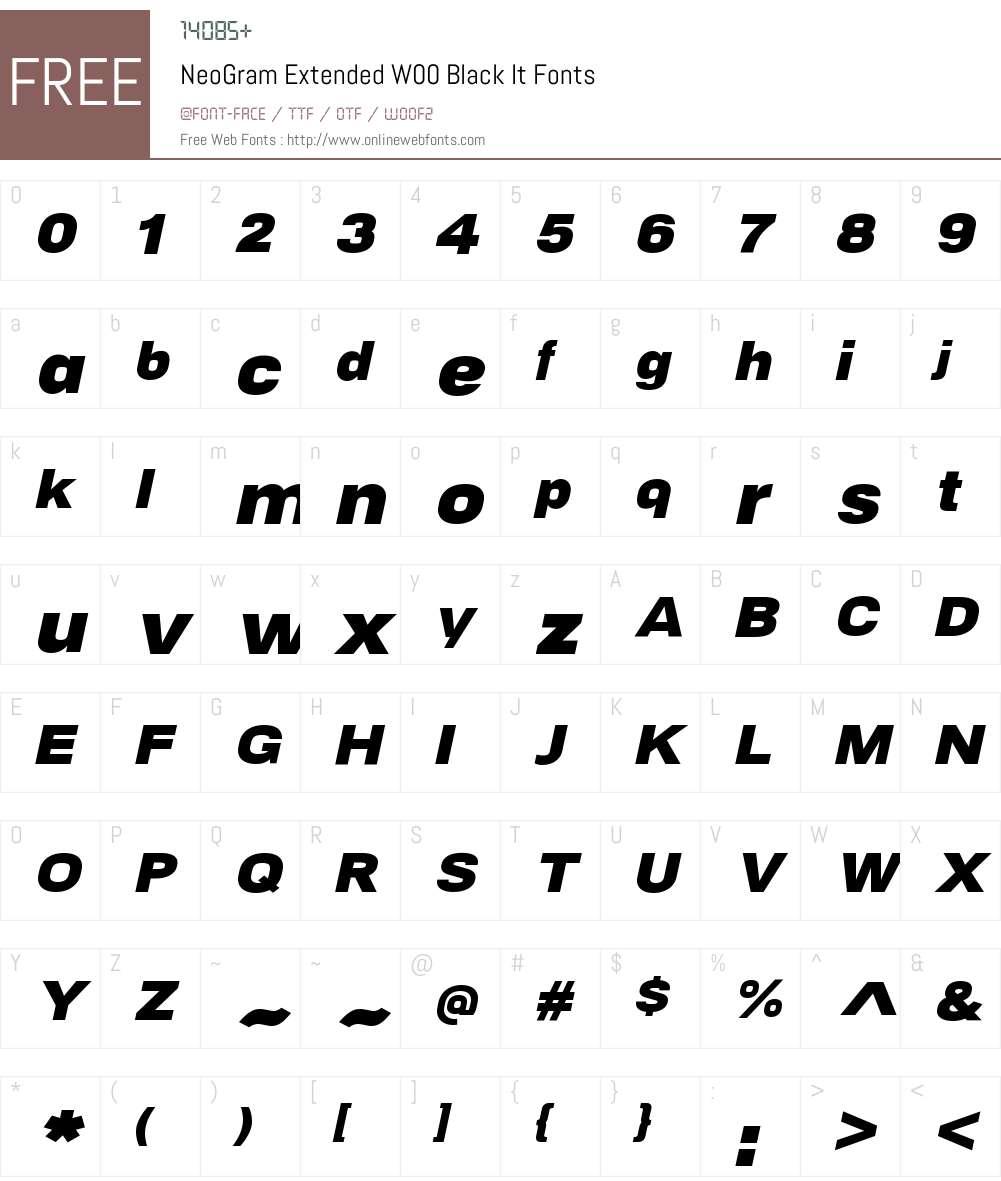 NeoGramExtendedW00-BlackIt Font Screenshots