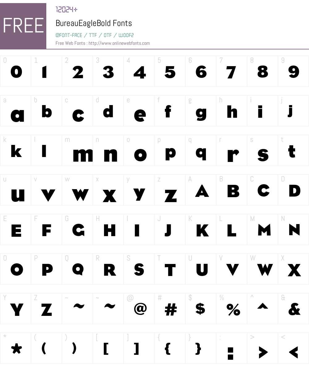 BureauEagleBold Font Screenshots