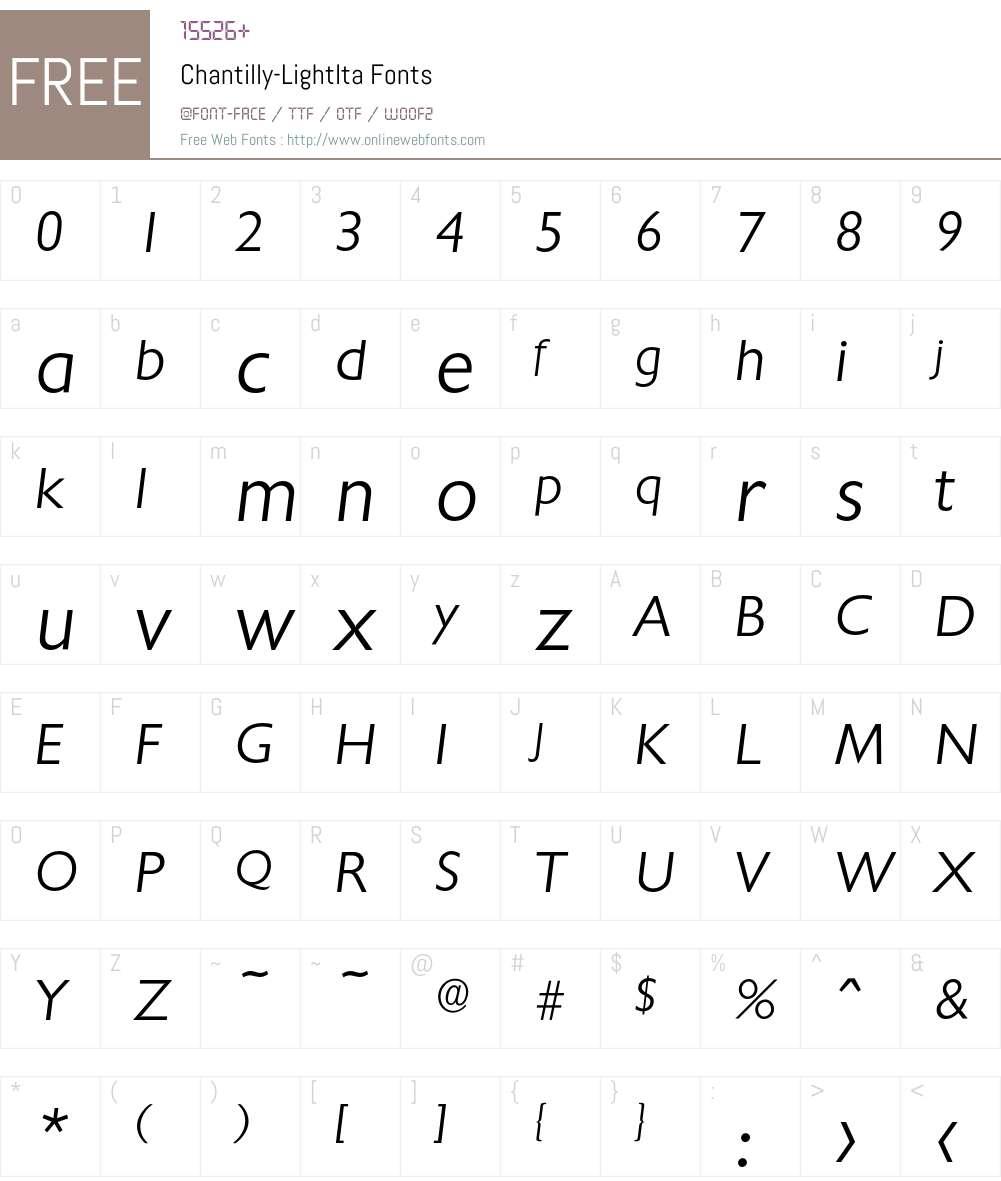 Chantilly-LightIta Font Screenshots