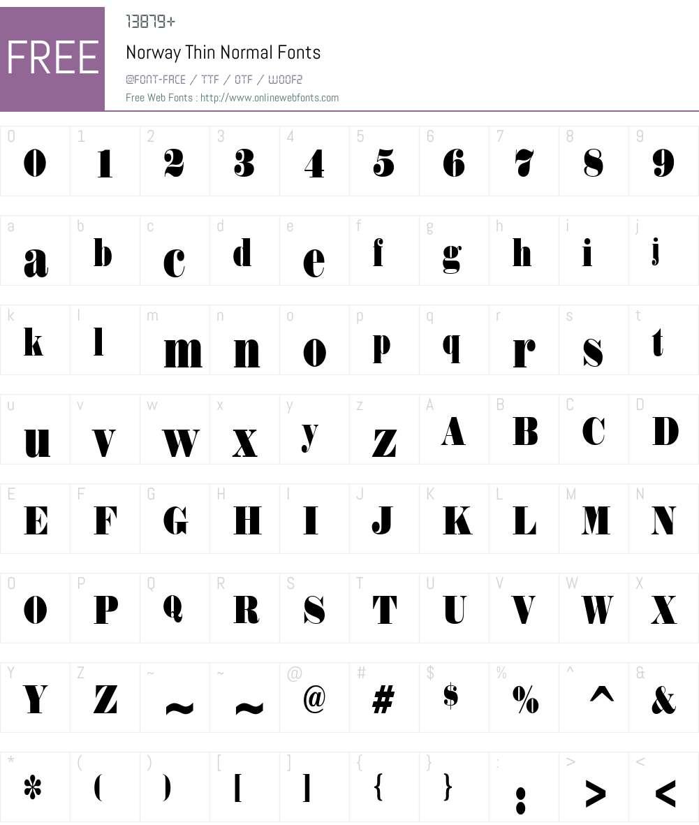 Norway Thin Font Screenshots