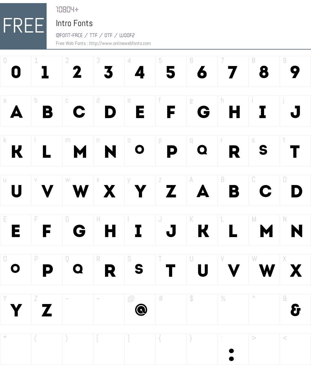 Intro Font Screenshots