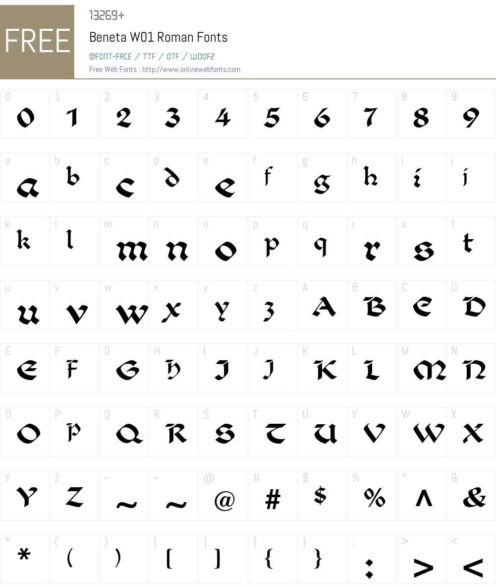 BenetaW01-Roman Font Screenshots