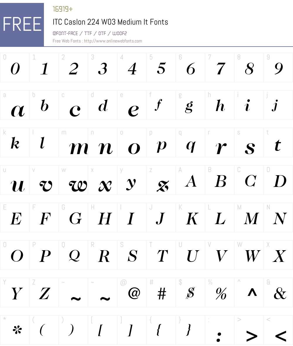 ITC Caslon No. 224 Font Screenshots