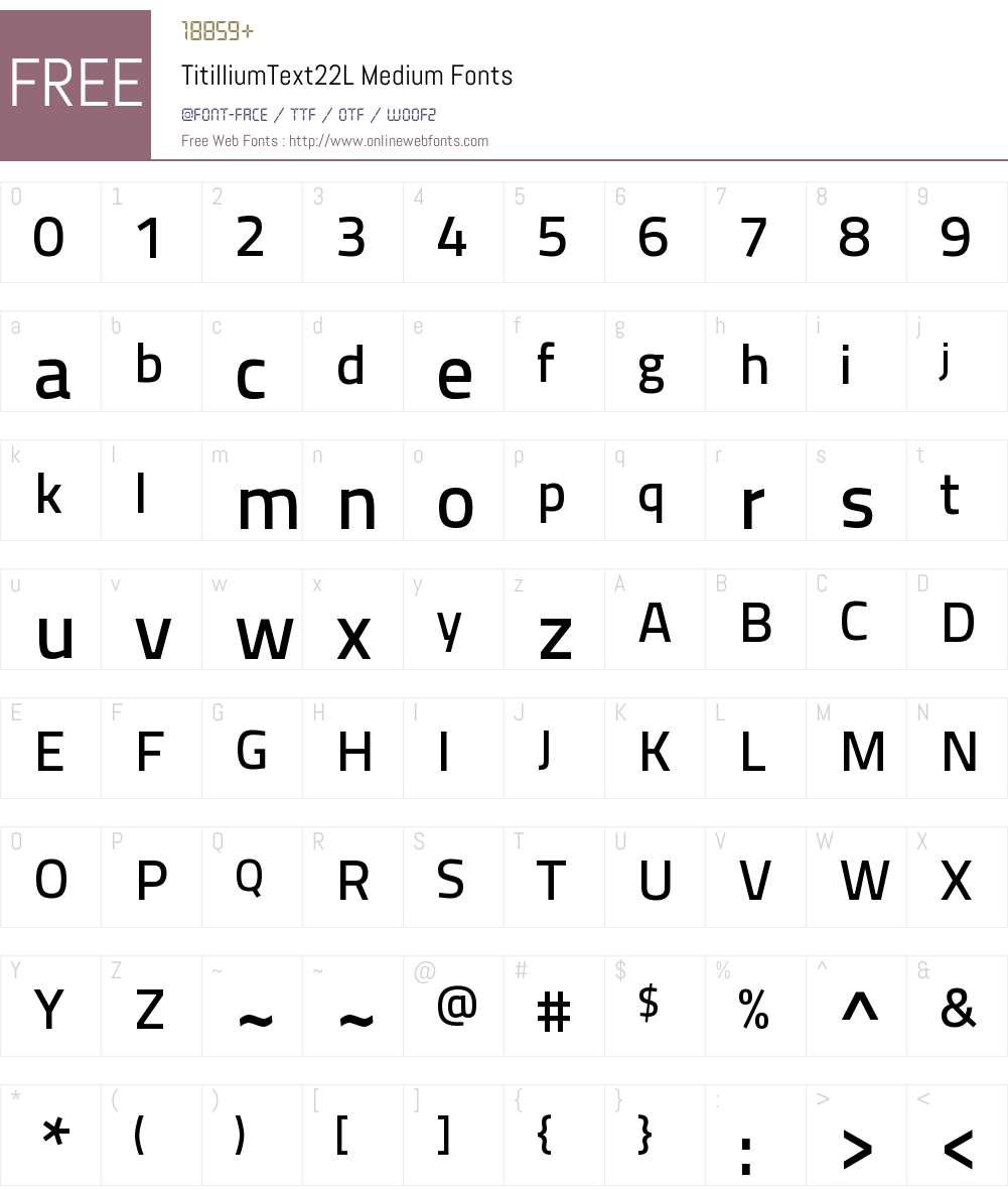 TitilliumText22L Lt Font Screenshots