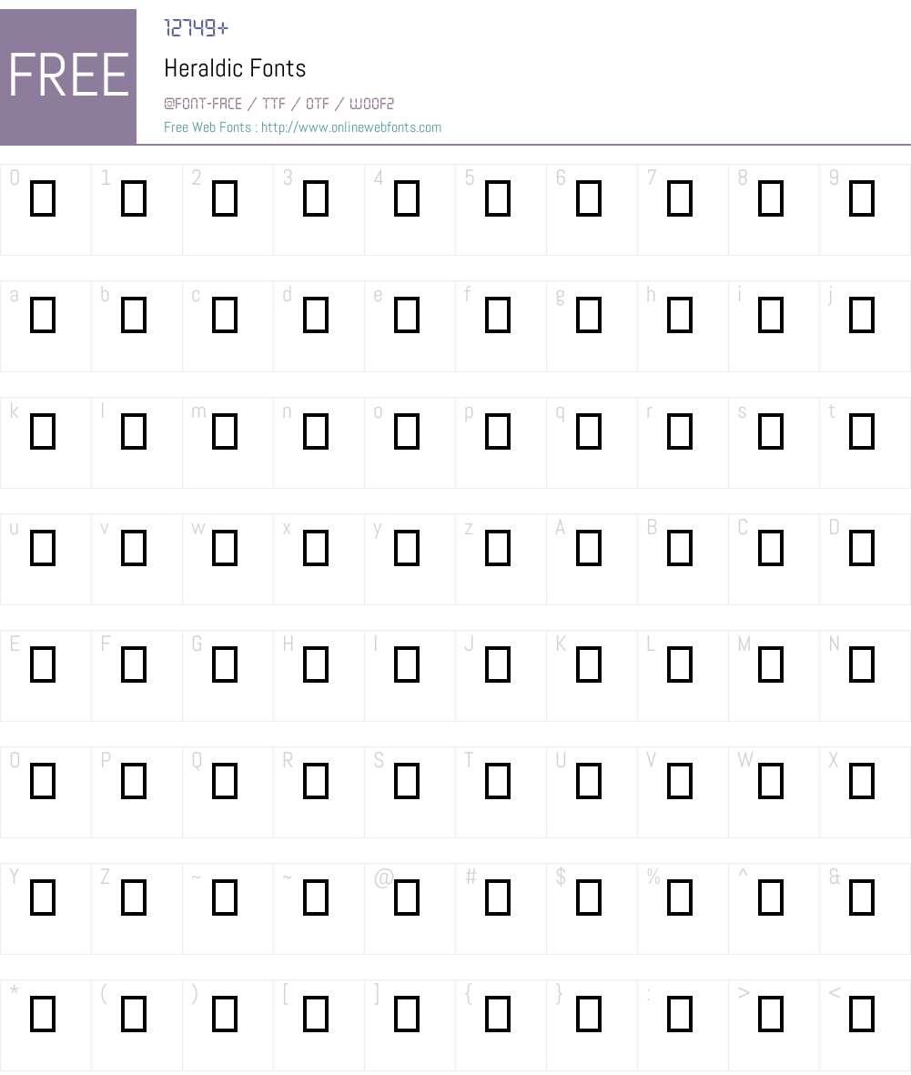 Heraldic Font Screenshots